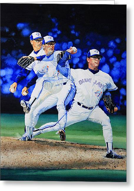 Sports Art Print Greeting Cards - Triple Play Greeting Card by Hanne Lore Koehler