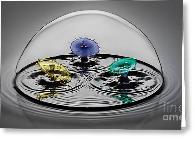Water Drop Greeting Cards - Triple Play Greeting Card by Susan Candelario