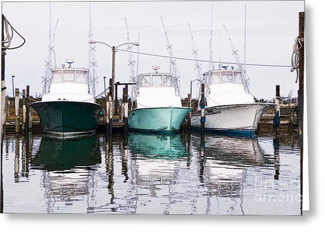 Abstract Seascape Drawings Greeting Cards - Triple Pleasure - Outer Banks Greeting Card by Dan Carmichael