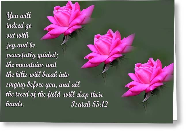 Isaiah Digital Greeting Cards - Triple Rose with Scripture Greeting Card by Linda Phelps
