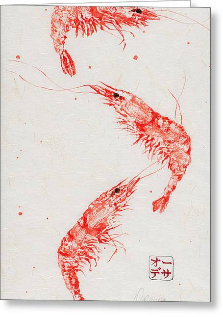 Gyotaku Greeting Cards - Triple Shrimp Greeting Card by Odessa Kelley