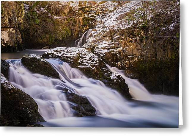 Flowing Greeting Cards - Triple Spout Waterfall. Greeting Card by Daniel Kay