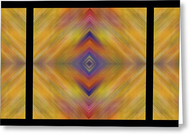 Geometric Artwork Greeting Cards - Triple Square Tiled Abstract I Greeting Card by Debbie Portwood