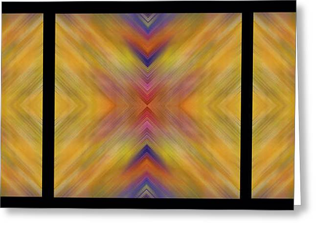 Geometric Artwork Greeting Cards - Triple Square Tiled Abstract II Greeting Card by Debbie Portwood