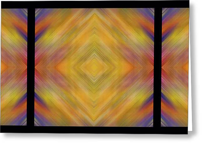 Geometric Artwork Greeting Cards - Triple Square Tiled Abstract III Greeting Card by Debbie Portwood