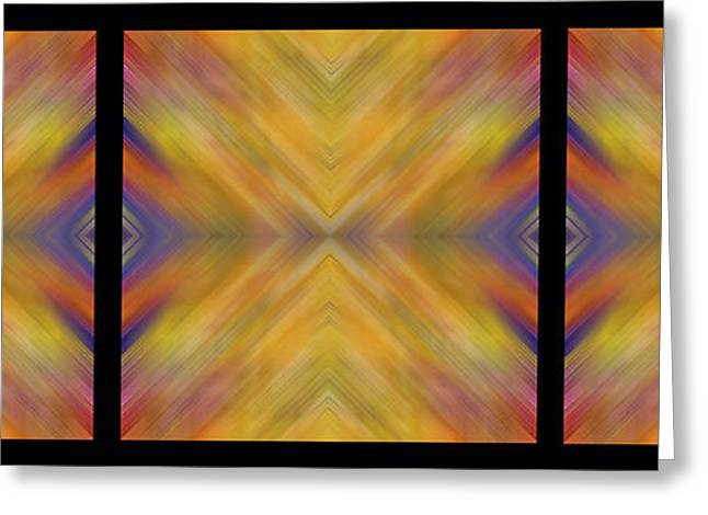 Geometric Artwork Greeting Cards - Triple Square Tiled Abstract IV Greeting Card by Debbie Portwood