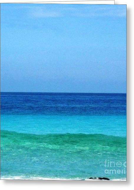 Blue Green Wave Greeting Cards - Triple Water Colors Greeting Card by Marsha Heiken
