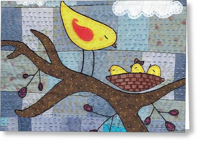 Triplets Greeting Card by Julie Bull