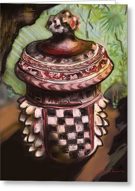 Mayan Pottery Greeting Cards - Tripod Vessel Greeting Card by Jean Pacheco Ravinski