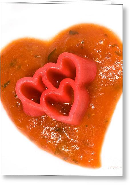 With Love Greeting Cards - Tripple Red Pasta Hearts on Tomato Sauce Greeting Card by Iris Richardson