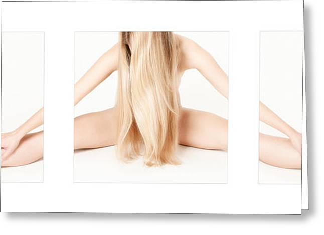 Legs Spread Greeting Cards - Triptych Beautiful Nude Gymnast 1 Greeting Card by Jochen Schoenfeld