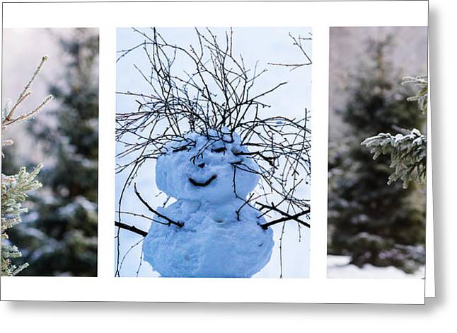 Snow Tree Prints Greeting Cards - Triptych - Christmas Trees And Snowman - Featured 3 Greeting Card by Alexander Senin