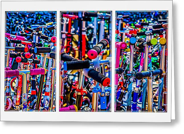 Triptych - High Time To Buy A Scooter Greeting Card by Alexander Senin