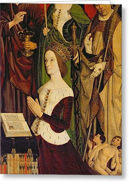 Knelt Photographs Greeting Cards - Triptych Of Moses And The Burning Bush, Right Panel Depicting Jeanne De Laval D.1498 With St. John Greeting Card by Nicolas Froment