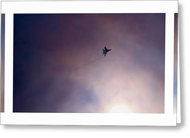 Conditions Greeting Cards - Triptych Overtaking The Sun - Featured 3 Greeting Card by Alexander Senin
