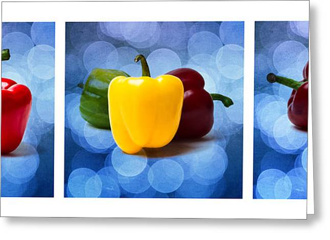Organic Greeting Cards - Triptych - Pepper Traffic Lights 1 Greeting Card by Alexander Senin