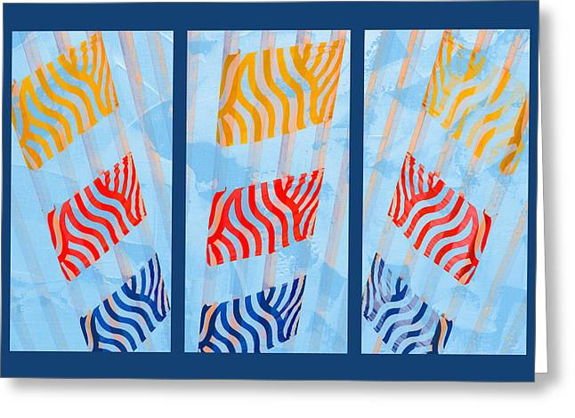 Abstract Sunburst Greeting Cards - Triptych Sunrise 2 Greeting Card by Alexander Senin