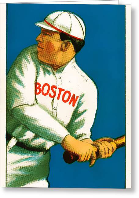 Baseball Art Photographs Greeting Cards - Tris Speaker Boston Red Sox Baseball Card 0520 Greeting Card by Wingsdomain Art and Photography