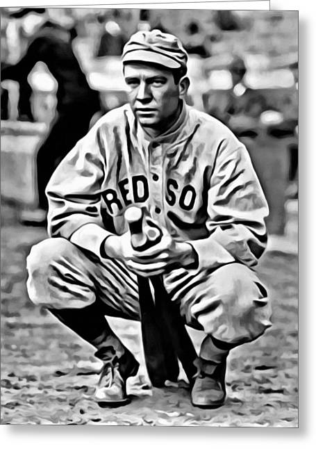 Red Sox Vintage Poster Greeting Cards - Tris Speaker Greeting Card by Florian Rodarte