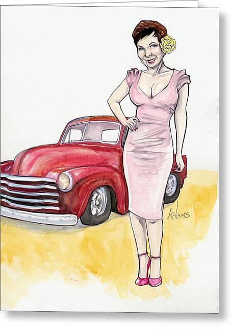 Classic Pickup Mixed Media Greeting Cards - Trish Hill-Iowa Greeting Card by Jimmy Adams