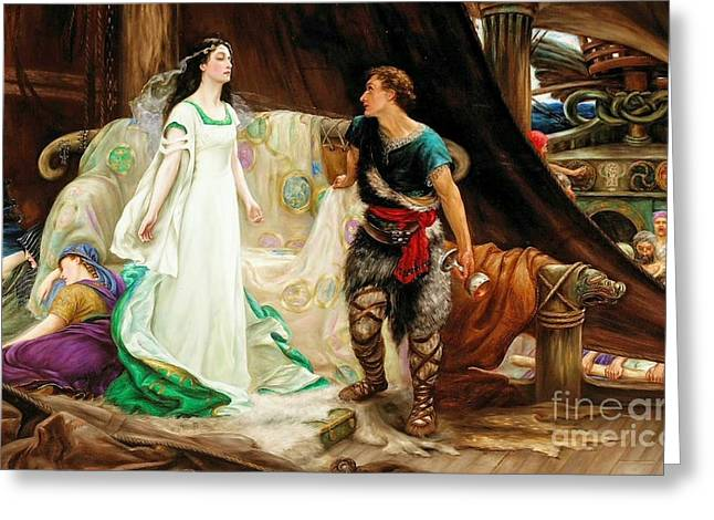 Sweetness Greeting Cards - Tristan and Isolde Greeting Card by Herbert James Draper