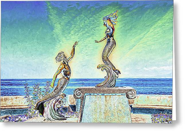 Greek Sculpture Greeting Cards - Triton and the Nereid Greeting Card by Maria Coulson