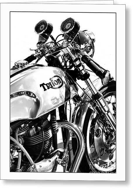 60s Greeting Cards - Triton Motorcycle Greeting Card by Tim Gainey