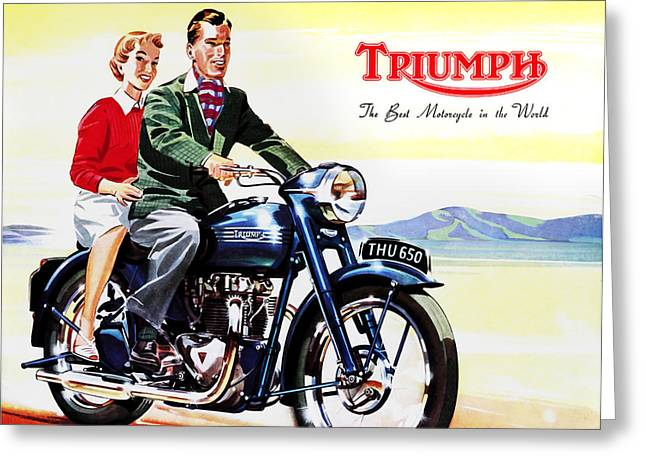 Motorcycle Greeting Cards - Triumph 1953 Greeting Card by Mark Rogan