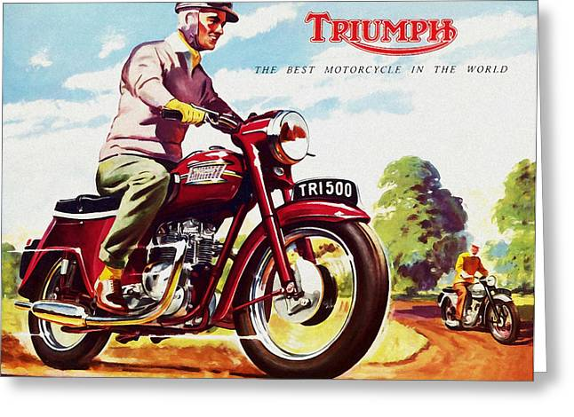 Vintage Greeting Cards - Triumph 1958 Greeting Card by Mark Rogan