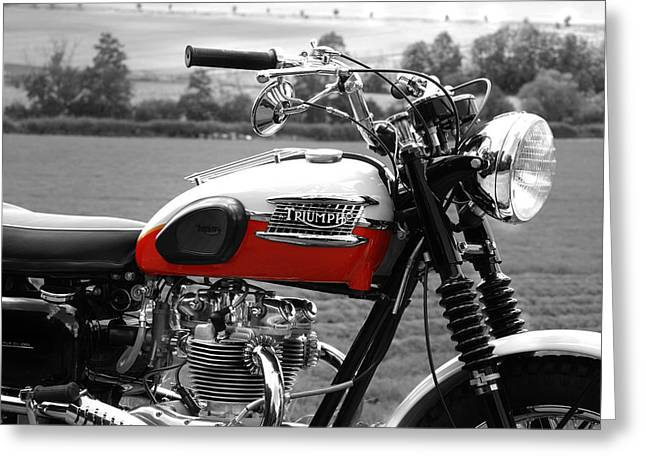 Motorcycles Greeting Cards - Triumph 1960 Greeting Card by Mark Rogan