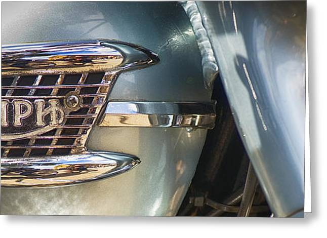 British Culture Greeting Cards - Triumph 3TA Panoramic Greeting Card by Tim Gainey