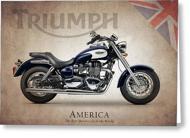 Motorcycles Greeting Cards - Triumph America Greeting Card by Mark Rogan