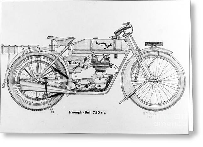 Carrier Drawings Greeting Cards - Triumph-Bat 750c.c. Greeting Card by Stephen Brooks