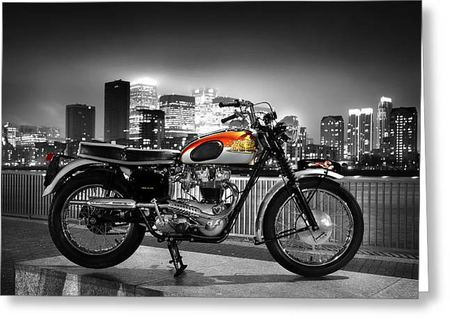 Motorcycle Poster Greeting Cards - Triumph Bonneville 1962 Greeting Card by Mark Rogan