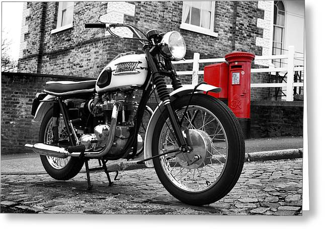 Motorcycle Poster Greeting Cards - Triumph Bonneville 1963 Greeting Card by Mark Rogan