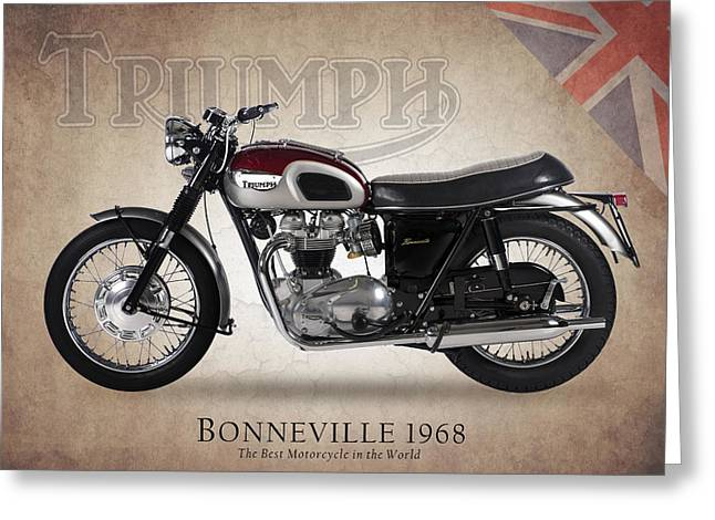 Motorcycle Greeting Cards - Triumph Bonneville 1968 Greeting Card by Mark Rogan