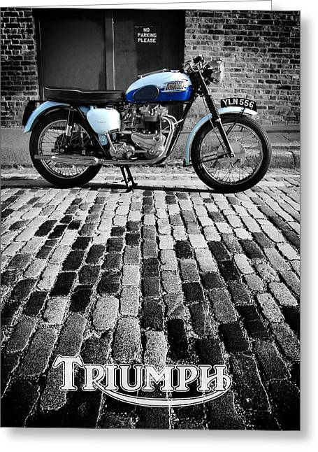 Triumphing Greeting Cards - Triumph Bonneville Greeting Card by Mark Rogan