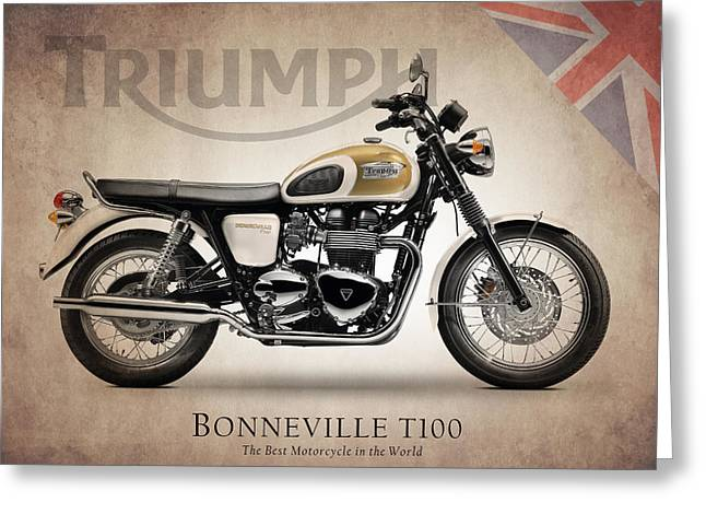 Triumphing Greeting Cards - Triumph Bonneville T100 Greeting Card by Mark Rogan