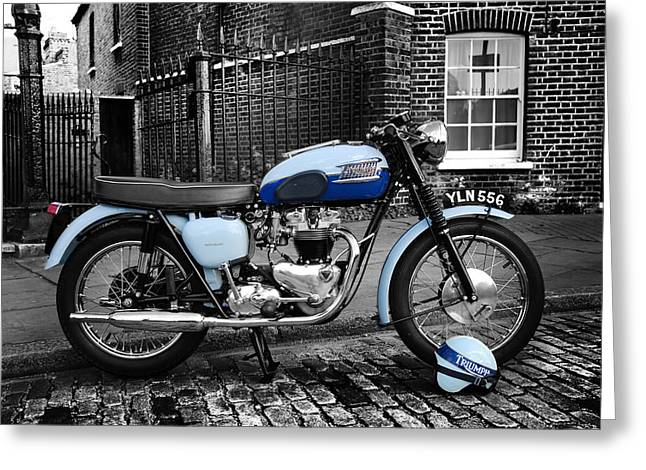 Motorcycle Art Greeting Cards - Triumph Bonneville T120 1960 Greeting Card by Mark Rogan