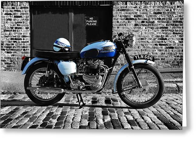 Motorcycle Poster Greeting Cards - Triumph Bonneville T120 Greeting Card by Mark Rogan