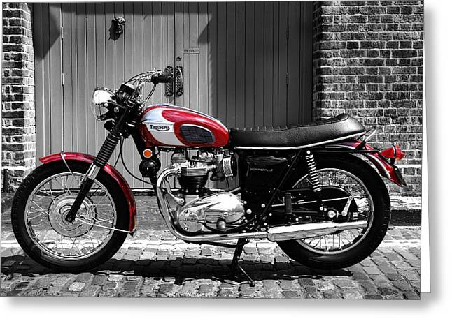 Triumphing Greeting Cards - Triumph Bonneville T120/RT Greeting Card by Mark Rogan