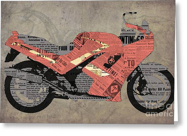 1992 Greeting Cards - Triumph Daytona 1000 1992 and red news Greeting Card by Pablo Franchi