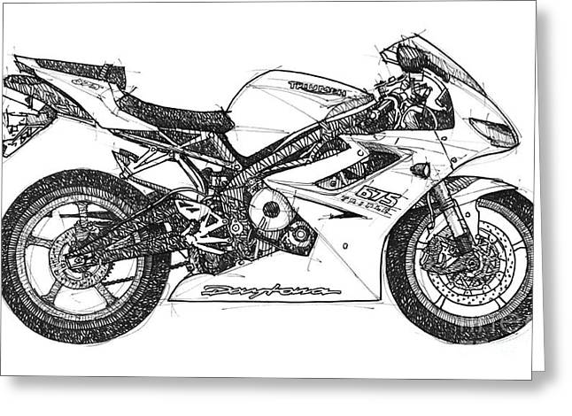 Handmade Drawings Greeting Cards - Triumph Daytona Greeting Card by Pablo Franchi