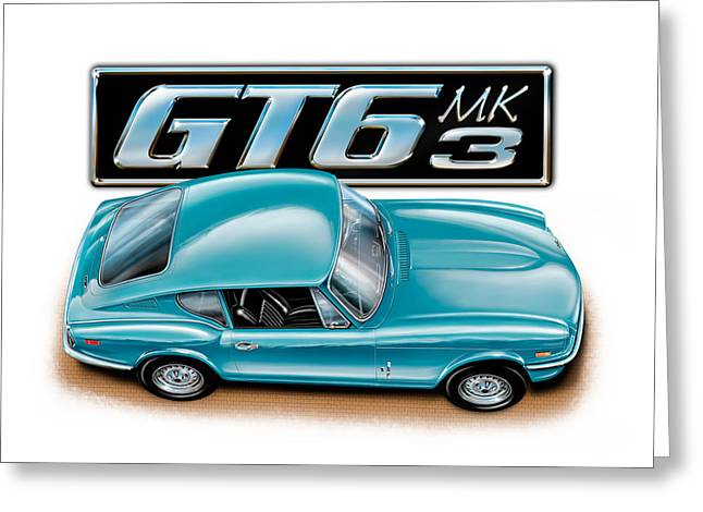 English Car Greeting Cards - Triumph GT-6 Mark 3 French Blue Greeting Card by David Kyte