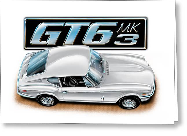 Spitfire Greeting Cards - Triumph GT-6 Mark 3 White Greeting Card by David Kyte