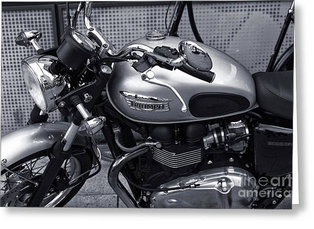 Chrome Handles Greeting Cards - Triumph in Hamburg mono Greeting Card by John Rizzuto