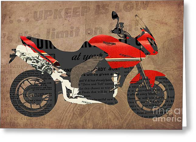 Newspaper Collage Greeting Cards - Triumph Motorcycle and the News Greeting Card by Pablo Franchi