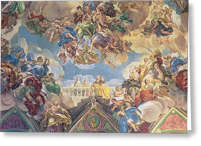 Royalty Greeting Cards - Triumph Of The Hapsburgs Lower Section Of Ceiling Greeting Card by Luca Giordano