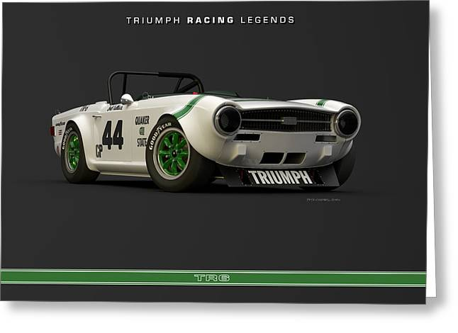Triumph Racing Legends Group 44 Tr6 Greeting Card by Pete Chadwell