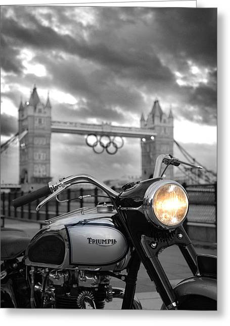 Landmark And Bridges Greeting Cards - Triumph T100 Greeting Card by Mark Rogan